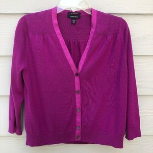 Land's End Purple Cardigan Medium Petite